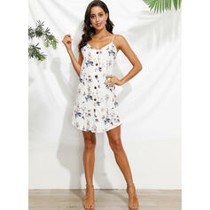 Print/Floral Sleeveless Shift Above Knee Casual/Boho/Vacation Slip Dresses
