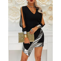 Sequins Long Sleeves Slit Sleeve Bodycon Above Knee Little Black/Party Dresses