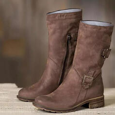 Women's Leatherette Low Heel Mid-Calf Boots With Buckle Zipper Solid Color shoes
