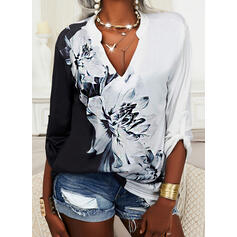 Print Color Block Floral V-Neck Long Sleeves Casual Blouses