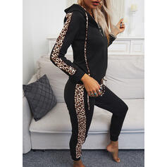 Leopard Casual Sporty Plus Size Two-Piece Outfits