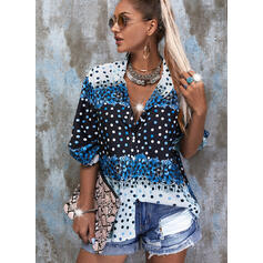 Print Lace PolkaDot V-Neck 3/4 Sleeves Button Up Casual Shirt Blouses