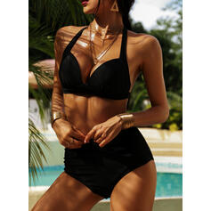 Solid Color High Waist Strap V-Neck Sexy Plus Size Bikinis Swimsuits