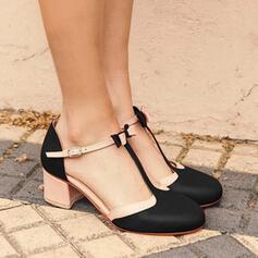 Women's PU Chunky Heel Pumps Closed Toe With Buckle shoes