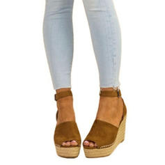 Women's Suede Wedge Heel Closed Toe With Buckle shoes