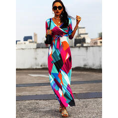 Print 3/4 Sleeves A-line Wrap/Skater Casual Maxi Dresses