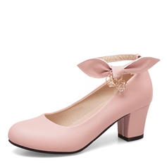 Women's Leatherette Chunky Heel Pumps Closed Toe Mary Jane With Bowknot Chain shoes