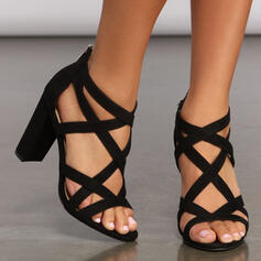 Women's Leatherette Chunky Heel Sandals Pumps Peep Toe Heels With Zipper Hollow-out Bandage shoes
