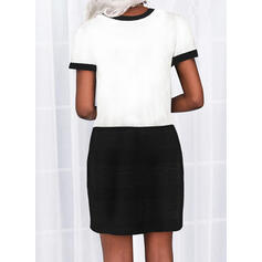 Print/Color Block/Letter Short Sleeves Sheath Above Knee Casual Dresses