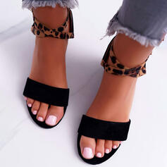 Women's Suede Chunky Heel Sandals Peep Toe With Buckle Animal Print shoes