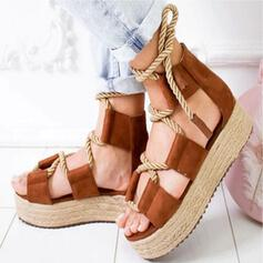 Women's Canvas Flat Heel Sandals Peep Toe With Lace-up Splice Color shoes