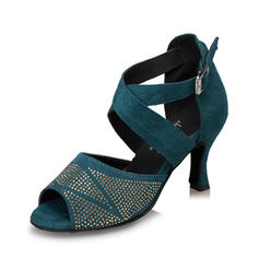Women's Latin Heels Sandals Suede With Rhinestone Ankle Strap Latin
