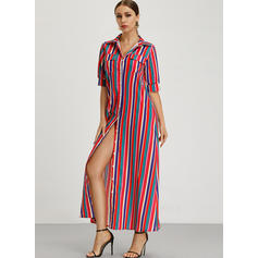 Striped 1/2 Sleeves Shift Casual/Vacation Maxi Dresses