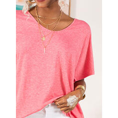 Solid V-Neck Short Sleeves Casual Basic Knit T-shirts
