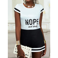 Color Block Print Letter Round Neck Short Sleeves T-shirts