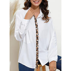 Patchwork Leopard V-Neck Long Sleeves Casual Blouses