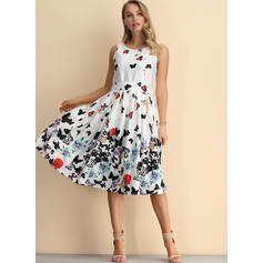 Print/Floral Sleeveless A-line Knee Length Party Dresses