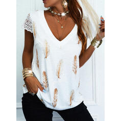 Print Feather Lace V-Neck Short Sleeves Casual Blouses