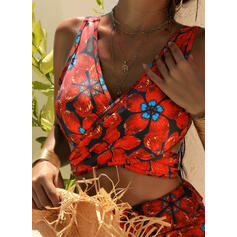 Floral V-Neck Strapless Beautiful Vintage Attractive Bikinis Swimsuits