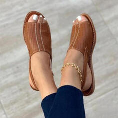 Women's Leatherette Flat Heel Sandals Peep Toe Slingbacks With Buckle Hollow-out shoes