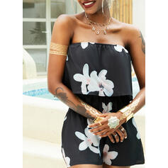 Floral Print Strapless Sleeveless Casual Vacation Romper