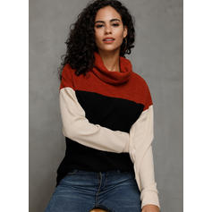 Color Block High Neck Long Sleeves Casual Knit Blouses