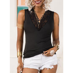Solid Patchwork Lace V-Neck Sleeveless Casual Tank Tops
