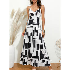 Print Sleeveless A-line Casual Maxi Dresses
