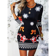 Print Long Sleeves Bodycon Above Knee Christmas/Casual Dresses