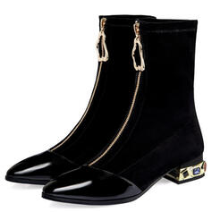 Women's PU Chunky Heel Mid-Calf Boots With Zipper Jewelry Heel Solid Color shoes