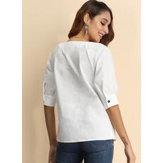 Solid V-Neck Long Sleeves Button Up Casual Sexy Knit Shirt Blouses