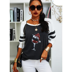 Christmas Print Color Block Round Neck Long Sleeves Casual Blouses