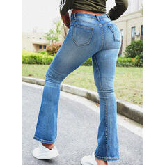 Solid Cotton Long Casual Vintage Pocket Shirred Ripped Pants Denim & Jeans