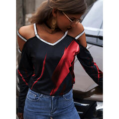 Print Sequins Cold Shoulder Long Sleeves Cold Shoulder Sleeve Casual Sexy Blouses