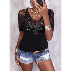 Solid Lace Sequins V-Neck Short Sleeves T-shirts