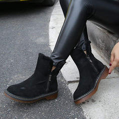 Women's Suede Low Heel Mid-Calf Boots Snow Boots With Zipper shoes
