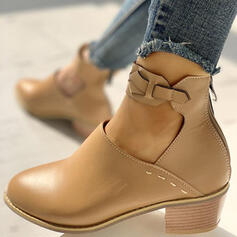 Women's PU Chunky Heel Boots Low Top Heels Pointed Toe With Solid Color shoes