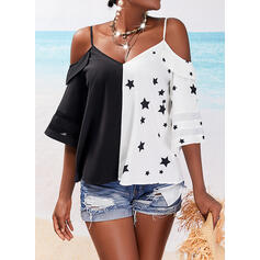 Print Color Block Cold Shoulder 3/4 Sleeves Casual Blouses
