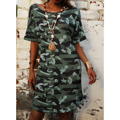 Print/Camouflage 1/2 Sleeves Shift Knee Length Casual/Vacation Tunic Dresses