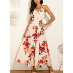 Print/Floral Sleeveless A-line Skater Sexy/Party/Vacation Maxi Dresses