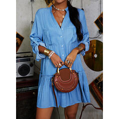 Solid Long Sleeves Shift Above Knee Casual/Vacation Tunic Dresses
