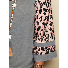 Leopard Round Neck 3/4 Sleeves T-shirts