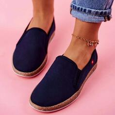 Women's Canvas Flat Heel Flats With Solid Color shoes
