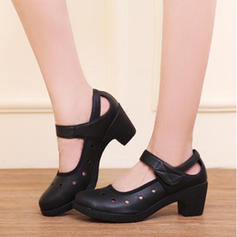Women's Sneakers Flats Real Leather With Ankle Strap Hollow-out Practice