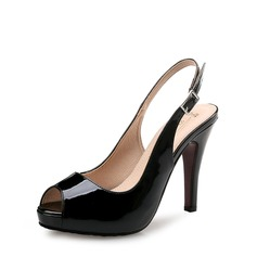 Women's Patent Leather Stiletto Heel Pumps Platform Peep Toe Slingbacks shoes