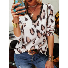 Lace Leopard V-Neck Long Sleeves Casual Blouses