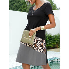 Color Block/Leopard Short Sleeves Shift Knee Length Casual/Vacation T-shirt Dresses