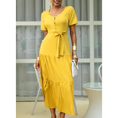 Solid Short Sleeves A-line Casual/Vacation Maxi Dresses