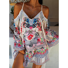 Print/Floral Long Sleeves/Flare Sleeves/Cold Shoulder Sleeve Shift Above Knee Casual/Boho/Vacation Dresses