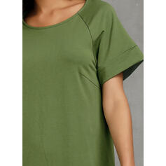 Solid Short Sleeves Shift Above Knee Little Black/Casual T-shirt Dresses